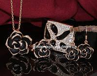 """Комплект """"Розалия"""": Кулон с цепочкой, серьги, кольцоо и браслет с кристаллами Swarovski, покрытый зол (601831)"""