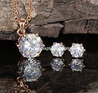Комплект в восхитительном дизайне с яркими австрийскими кристаллами, покрытый золотом (601960)