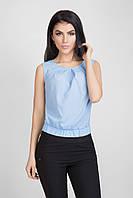 Летняя укороченная женская блуза голубого цвета