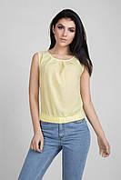 Летняя укороченная женская блуза желтого цвета