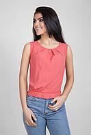 Летняя укороченная женская блуза кораллового цвета