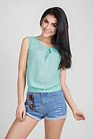 Летняя укороченная женская блуза цвета мяты