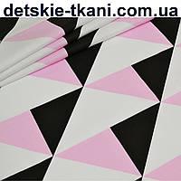 Бязь с большими треугольниками чёрного и розового цвета (№ 796)