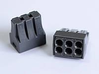 Соединитель проводов безвинтовой 6-контактный с плоско-пружинными зажимами 1.5-2.5мм 2.20А (5 шт.) серый LXL