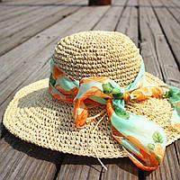 Шляпа большая женская летняя бежевая