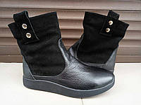 Зимние ботиночки , из натуральной замши и кожи, черного цвета