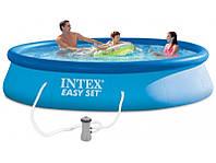 Надувной бассейн Intex с надувным верхним кольцом + фильтр-насос 396 х 84 см