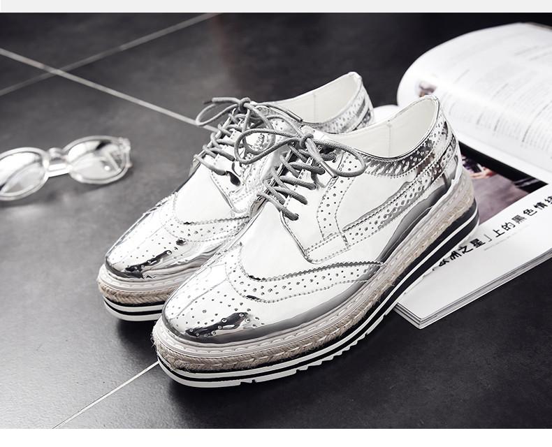 8059138b9a78 Кожаные туфли на высокой платформе блестящие