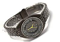 Часы женские Geneva - в кристаллах циферблат, цвет корпуса черный