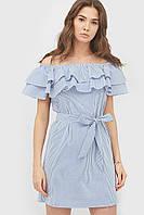 Літнє вільне голубе плаття у смужку Karin