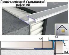 Профиль алюминиевый лестничный соединительный рифленый 39мм х 12мм для плитки, серебро, золото, брон