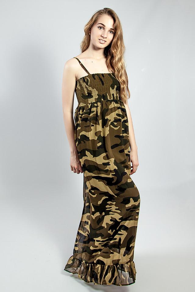 6778f43b182 Женское платье - сарафан в пол летнее легкое на бретелях длинное  камуфляжное стильное Mela Loves london