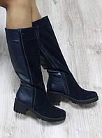 Зимние сапоги на удобном каблуке,  из натуральной кожи и замши