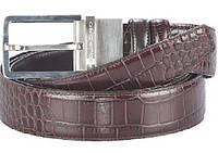 Ремень Piquadro кожаный двухсторонний крокодил/гладкий C31/Brown CU2021C32_M ДхШ: 127х3,5 см. коричневый