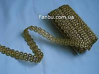 """Золота тасьма """"ступінчаста хвиля-2.2 см ширина""""металізована, фото 1"""
