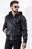 Кожаная зимняя куртка с капюшоном