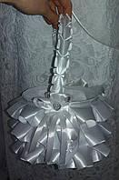 Свадебная корзинка для разбрасывания лепестков роз, конфет, монет (белая)