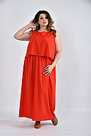 До 74 размера, Красное длинное коктельное летнее платье шифоновое в пол большого размера батал алый сарафан