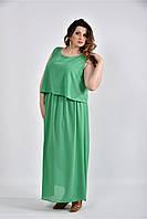 До 74 размера, Зелёное длинное коктейльное летнее платье шифоновое в пол больших размеров батал сарафан