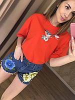 Прекрасная женская футболка (фабричный Китай, хлопок , короткий рукав, декор, свободная) РАЗНЫЕ ЦВЕТА!