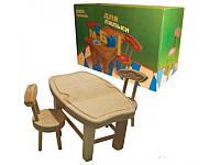 Мебель для кукол из масива бука(стол+стул(2шт)), стол 26*18*14см, произ-во Украина(172075)