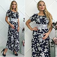 """Элегантное длинное летнее платье в больших размерах 072 """"Версаль Сакура"""""""