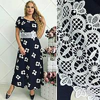 """Элегантное длинное летнее платье в больших размерах 073 """"Версаль Ромашка"""""""