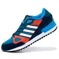 Мужские кроссовки Adidas zx750 синие с коричневым - Топ качество - Реплика р.(41)