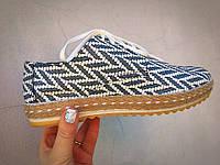 Туфли женские кожаные Italiano, плетенка белая с черным