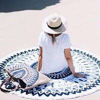 Пляжный коврик Мандала сине-черная