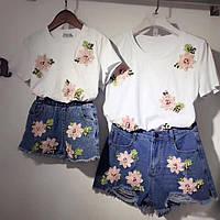 Family look парные комплекты шорты+футболка мама и дочка