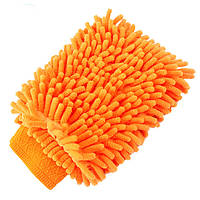 Рукавица для убоки Lesko 45-2A/008 оранжевая губка тряпка протирать мыть поверхности сухая влажная уборка