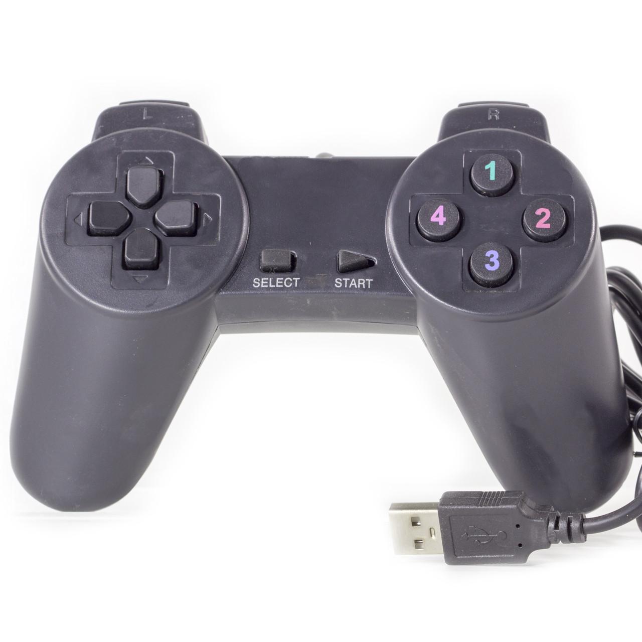 Универсальный геймпад LESKO 701 черный для компьютера ноутбука игровой контроллер джойстик USB мультимедийный