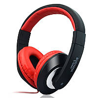 Универсальная гарнитура SOUYANA S-828 черно-красная для компьютера ноутбука с микрофоном игровая jack 3.5