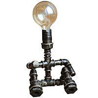 Настольная лампа кованая Лофт Бруклин 1 лампа Старая Бронза, Водопроводчик - лампа из трубы