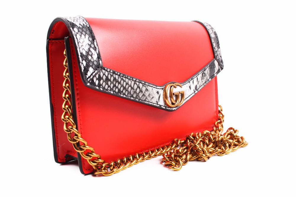 Стильная сумка GUCCI эко-кожа, цвет красный, прямоугольная, маленькая
