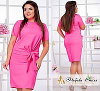 Приталенное женское платье офисного стиля, батал