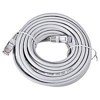 Сетевой кабель патч-корд 10 метров RJ-45 серый. Заводской обжим