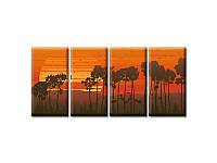 Модульная Картина Glozis Sunset 70см х 35см  х  4 Картины