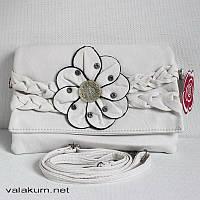 Оригинальная интересная сумочка-клатч. Аппликация - цветок. А-124. Цвет белый.