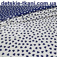 Ткань с синими мини сердечками на белом фоне (№ 797)