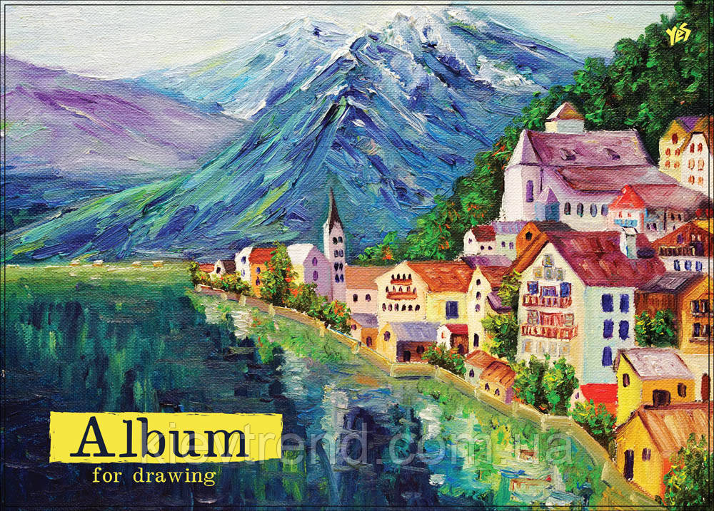 "Альбом для рисования А4 20л/120 ""Пейзаж"" эмбоссинг на спирали по короткой стороне YES"
