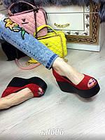 Туфли на танкетке Натуральный замш, внутри кожа Цвет: красный