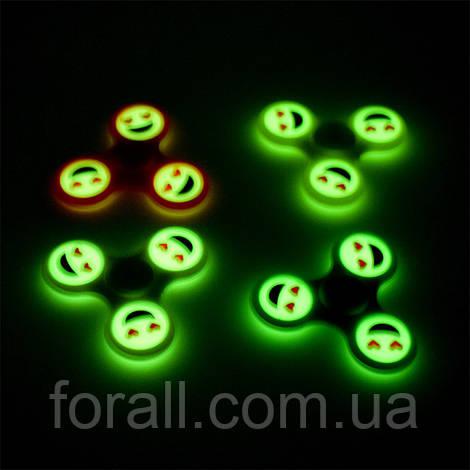 Спиннер светящийся / Спинер / Fidget spinner / Фосфорный смайлики