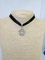 Чокер на шею с подвеской Пентаграмма Сверхъестественное лента Колье Ожерелье Шарм Панк Ретро ХИТ!