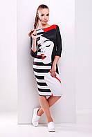 Облегающее молодежное платье миди с модным принтом Girl Лоя-2Ф д/р