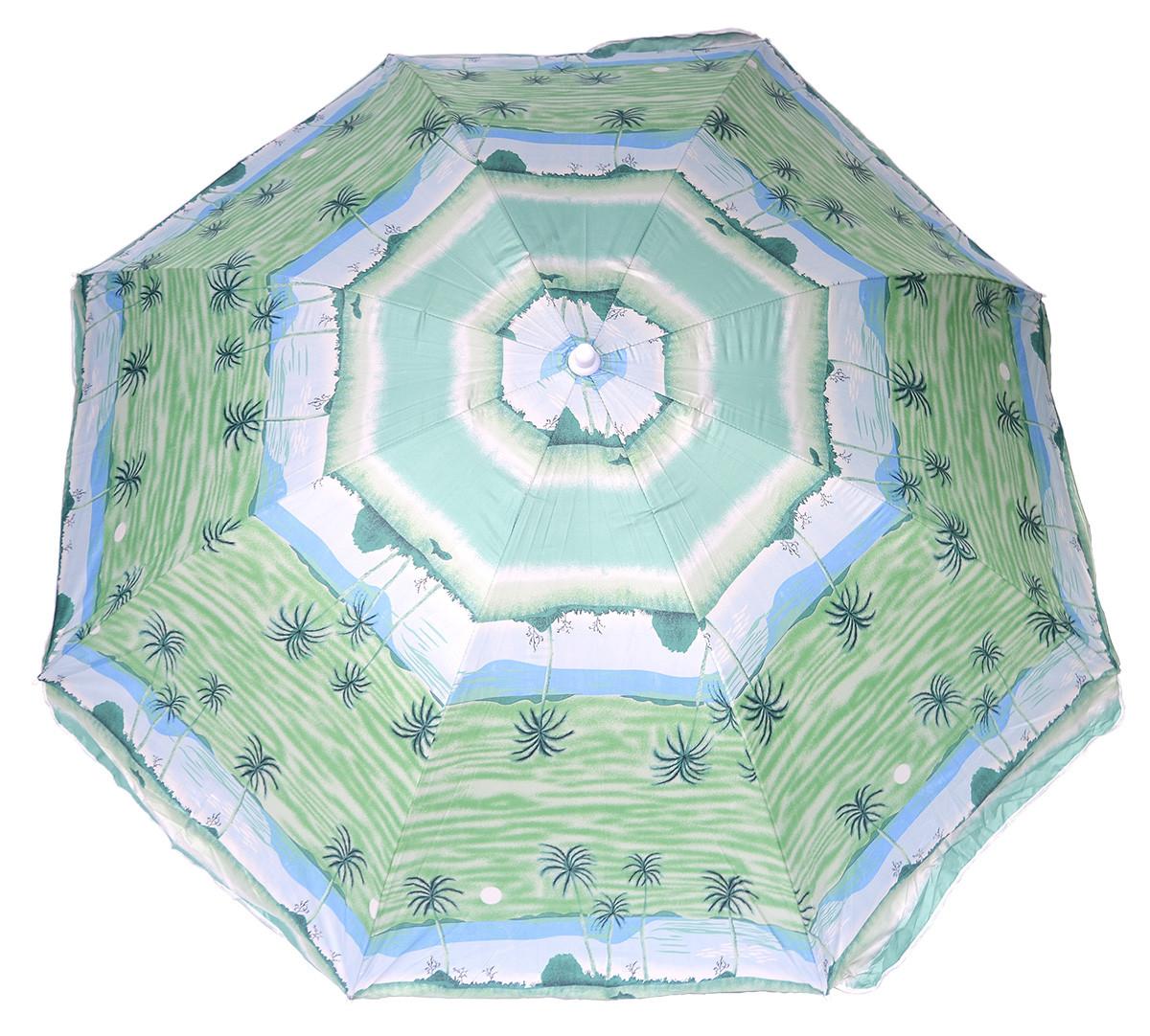 Пляжный зонт с серебристым напылением 2.2 м с наклоном система ромашка