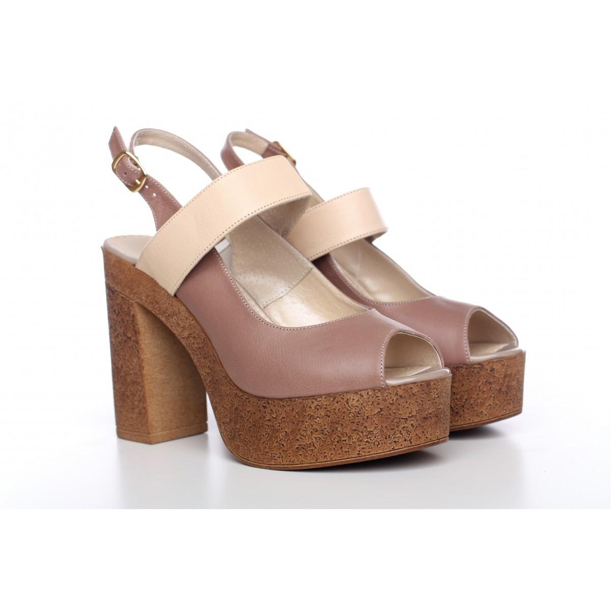 49253f253 Женские босоножки из натуральной кожи на высоком каблуке и платформе -  Интернет-магазин