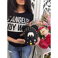 Сумка рюкзак женская стильная на цепочке мини с ушками № 7788