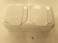 Розетка Palmiye двойная с заземлением влагозащищенная IP54  (кремового цвета)